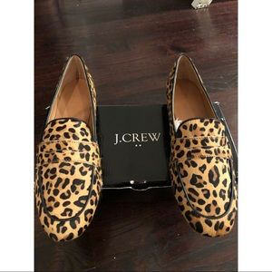 J Crew Calf Hair Leopard Penny Loafers